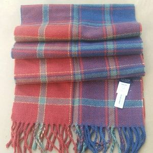 New J.Crew Plaid Wool Fringe Scarf